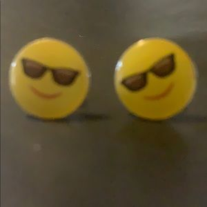 Sun glass emoji earrings